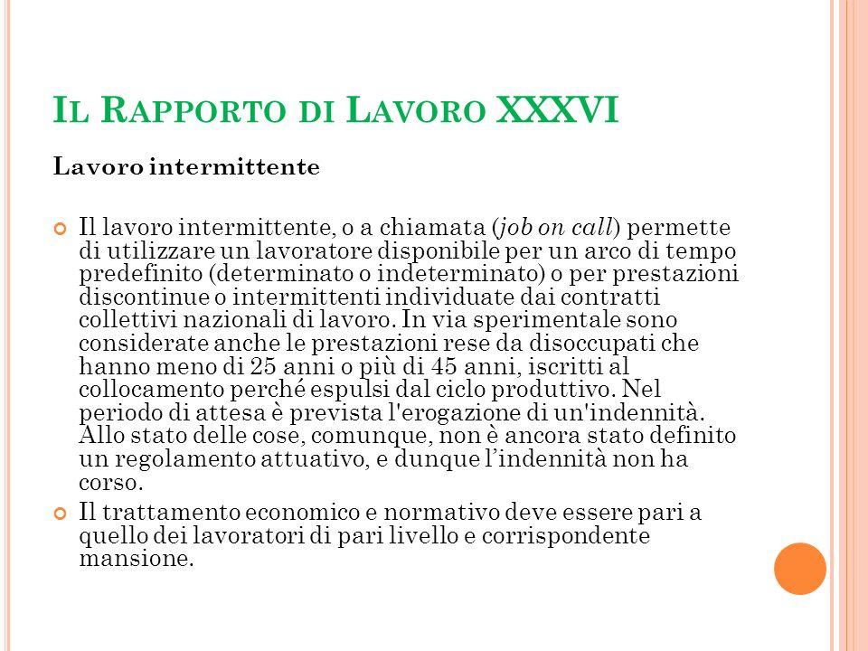 Il Rapporto di Lavoro XXXVI