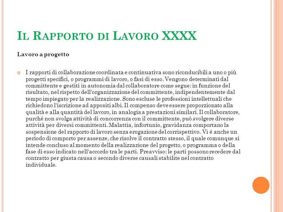 Il Rapporto di Lavoro XXXX