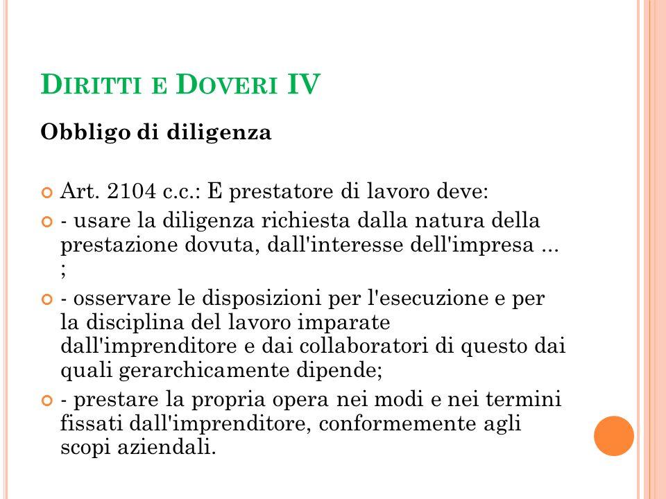 Diritti e Doveri IV Obbligo di diligenza