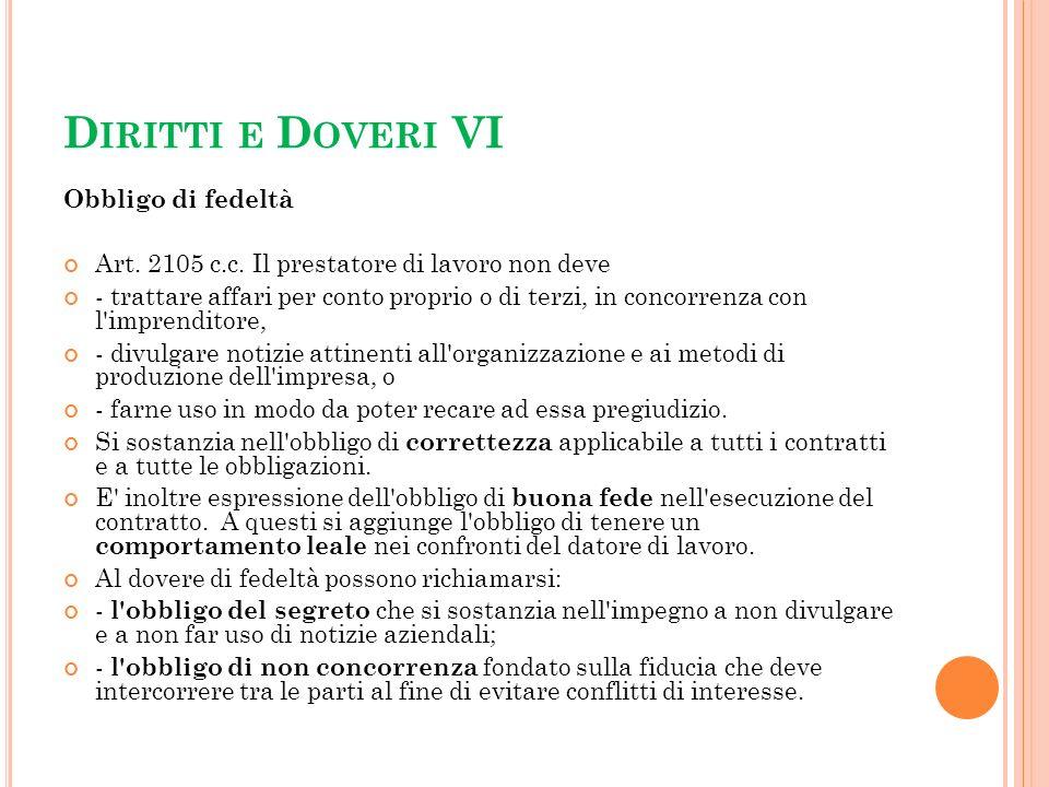 Diritti e Doveri VI Obbligo di fedeltà