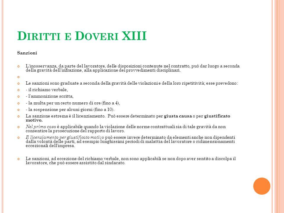 Diritti e Doveri XIII Sanzioni