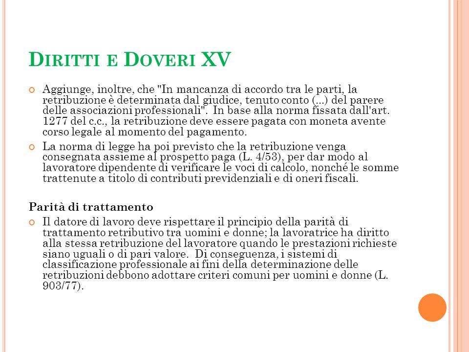 Diritti e Doveri XV
