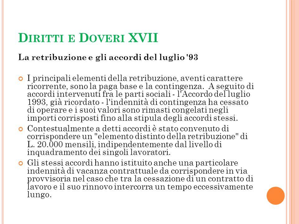 Diritti e Doveri XVII La retribuzione e gli accordi del luglio 93