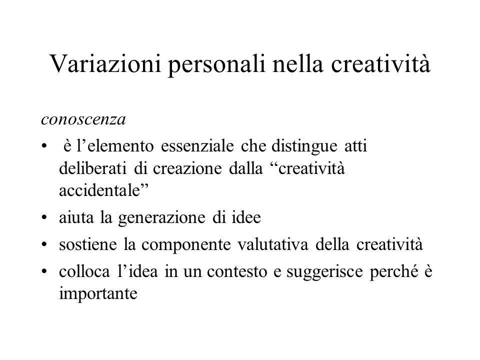 Variazioni personali nella creatività