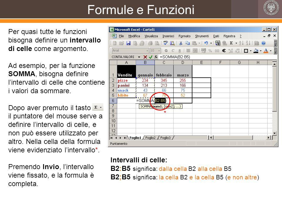 Formule e Funzioni Per quasi tutte le funzioni bisogna definire un intervallo di celle come argomento.