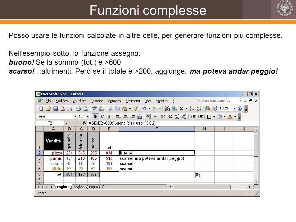 Funzioni complesse Posso usare le funzioni calcolate in altre celle, per generare funzioni più complesse.