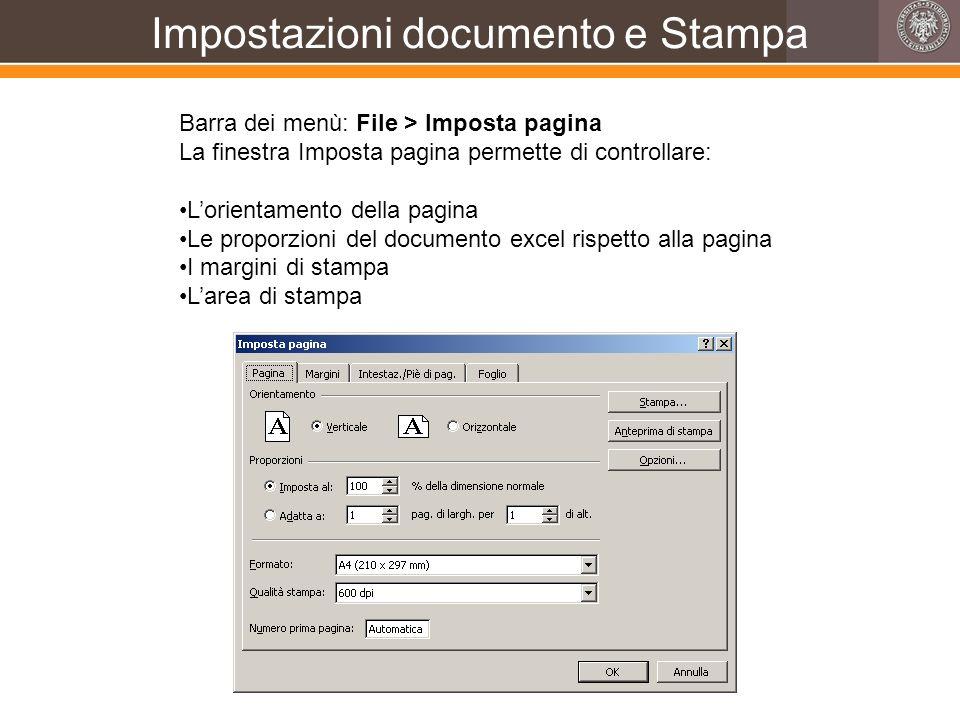 Impostazioni documento e Stampa