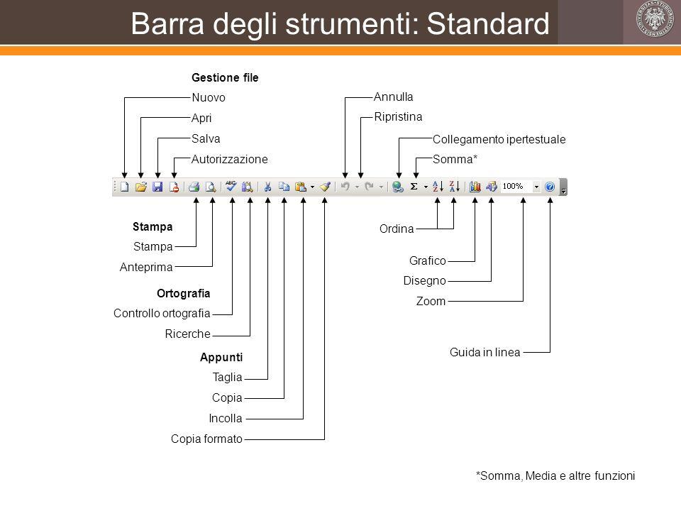 Barra degli strumenti: Standard