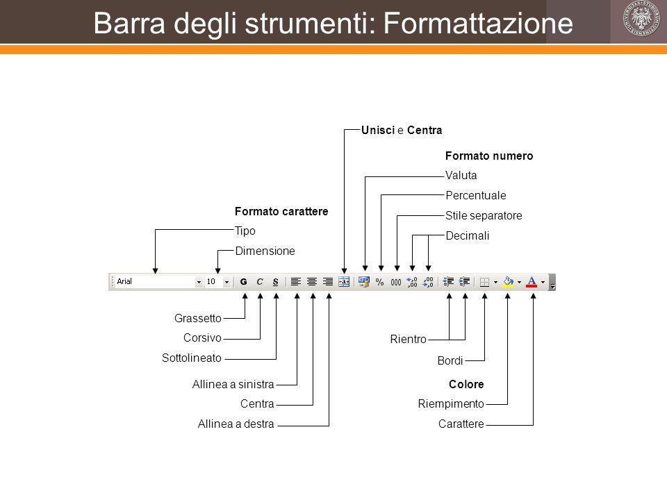 Barra degli strumenti: Formattazione