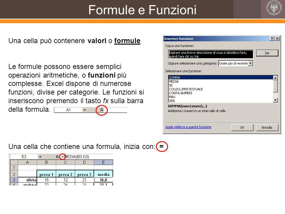 Formule e Funzioni Una cella può contenere valori o formule