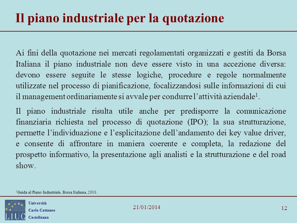 Il piano industriale per la quotazione