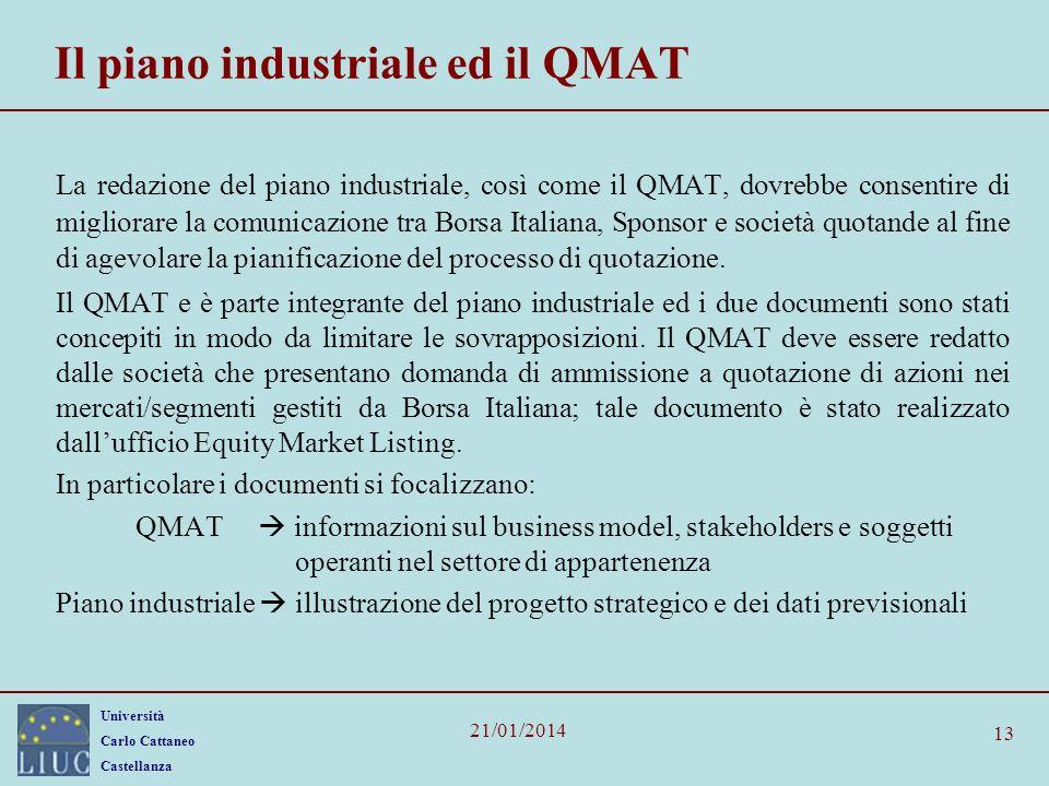 Il piano industriale ed il QMAT