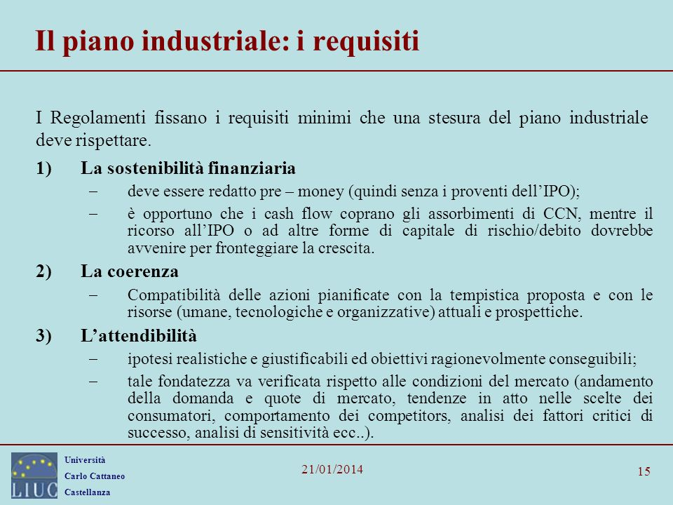 Il piano industriale: i requisiti