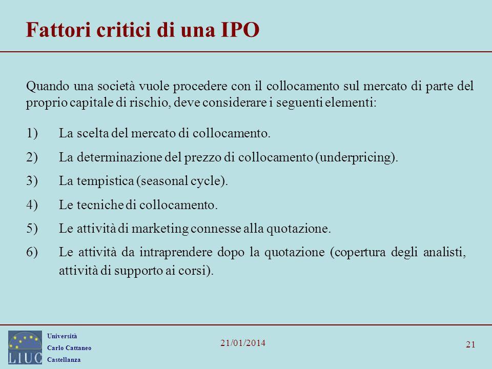 Fattori critici di una IPO
