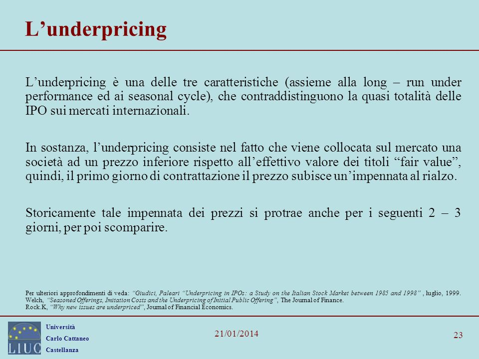 L'underpricing