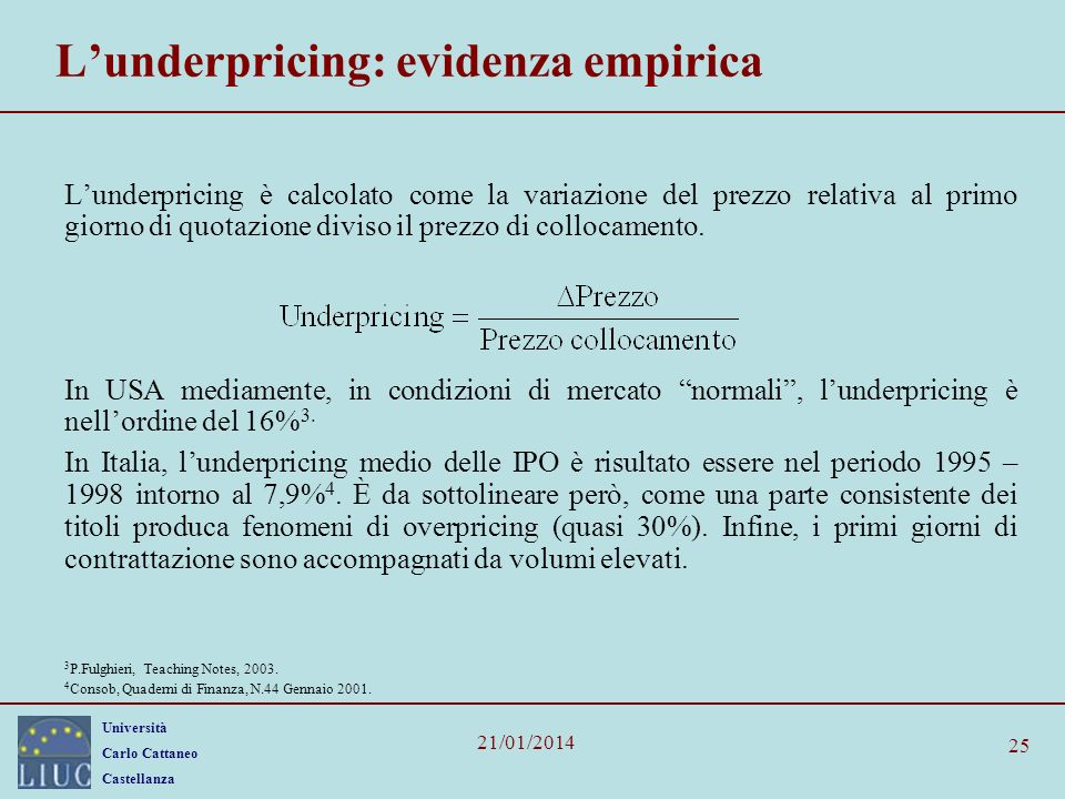 L'underpricing: evidenza empirica