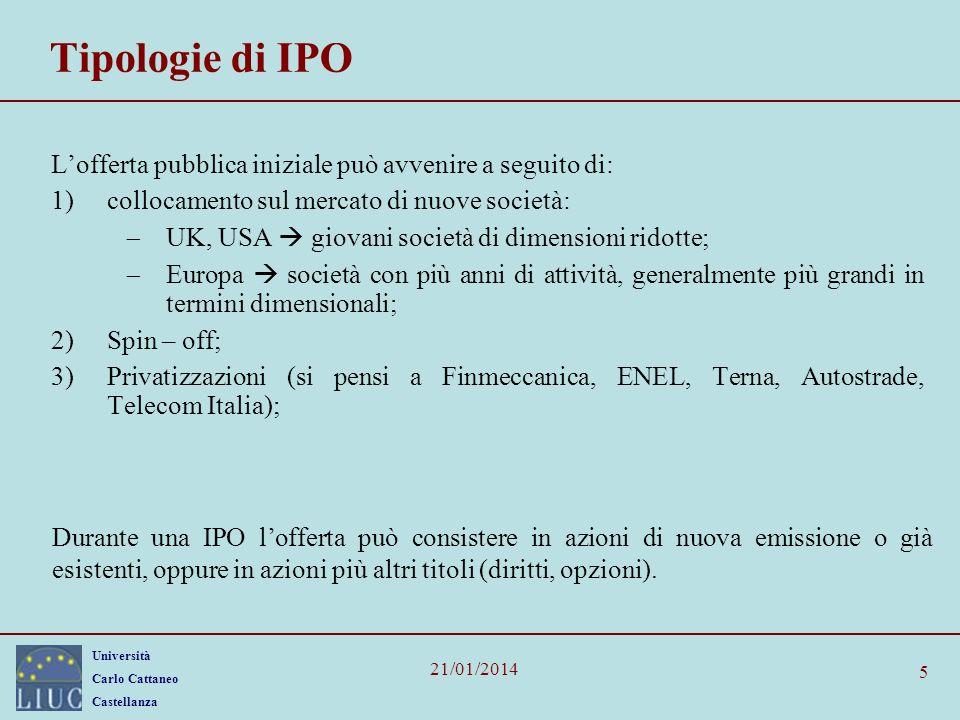 Tipologie di IPO L'offerta pubblica iniziale può avvenire a seguito di: collocamento sul mercato di nuove società: