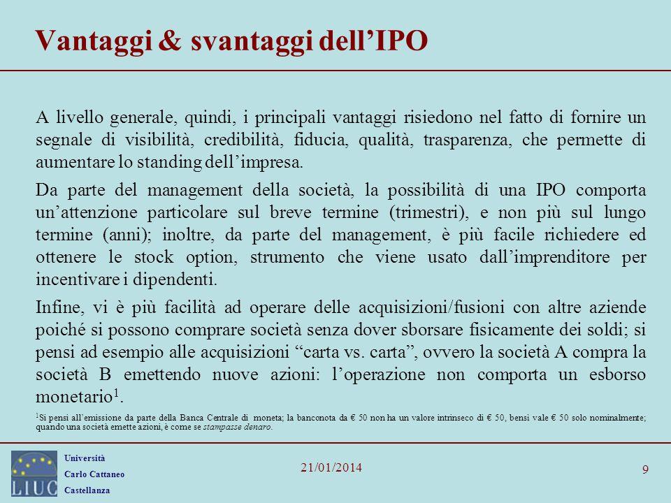 Vantaggi & svantaggi dell'IPO
