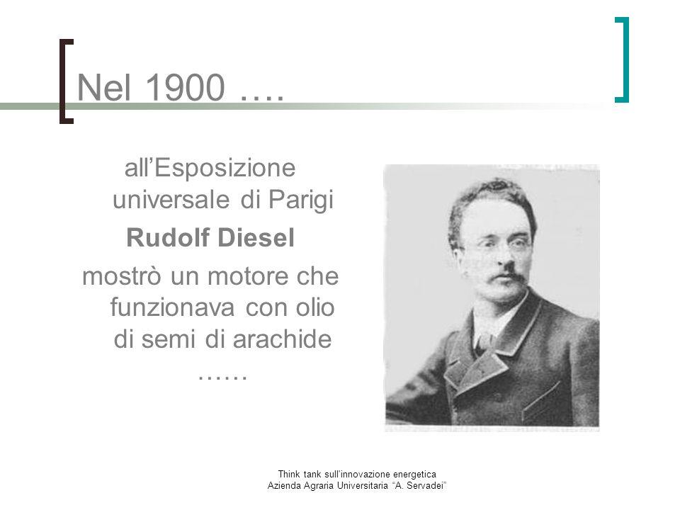 Nel 1900 …. all'Esposizione universale di Parigi Rudolf Diesel