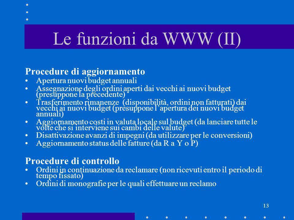 Le funzioni da WWW (II) Procedure di aggiornamento