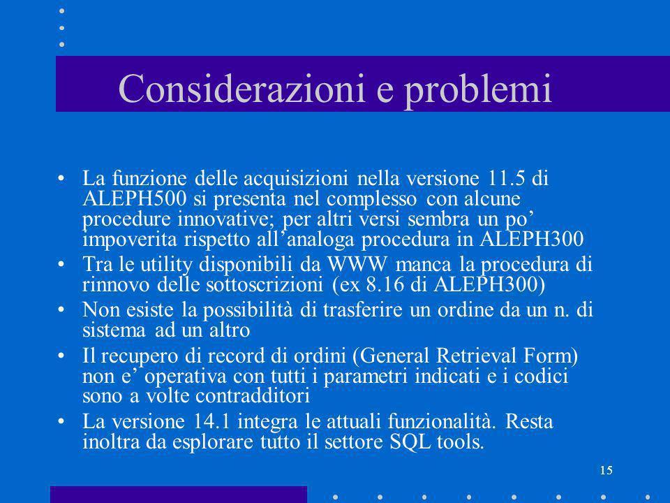 Considerazioni e problemi