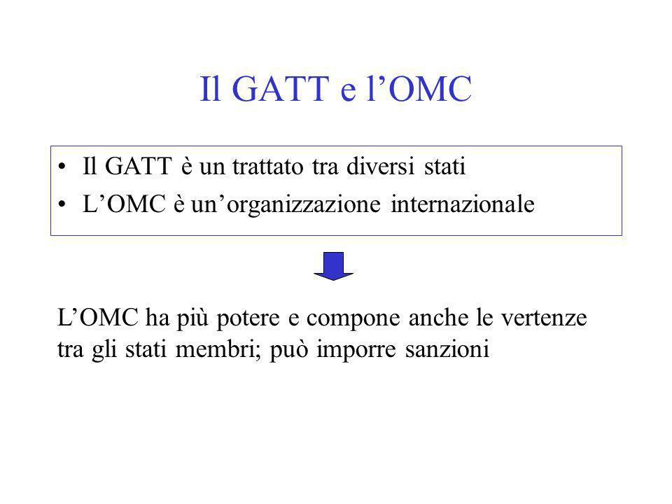 Il GATT e l'OMC Il GATT è un trattato tra diversi stati