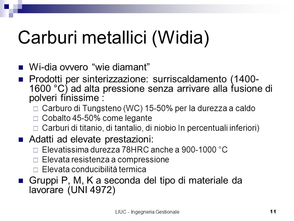 Carburi metallici (Widia)