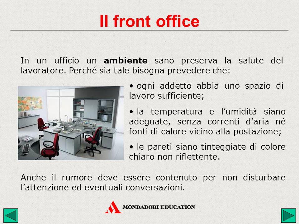 Il front office In un ufficio un ambiente sano preserva la salute del lavoratore. Perché sia tale bisogna prevedere che: