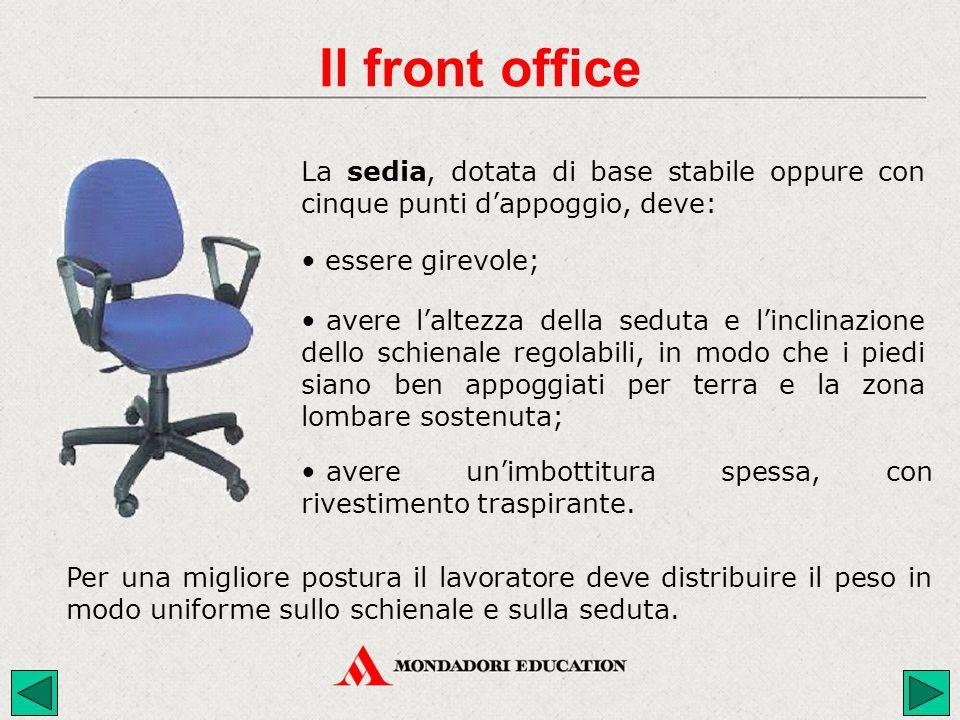 Il front office La sedia, dotata di base stabile oppure con cinque punti d'appoggio, deve: essere girevole;