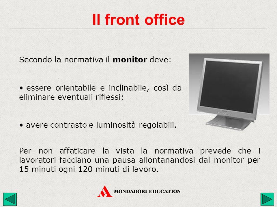 Il front office Secondo la normativa il monitor deve: