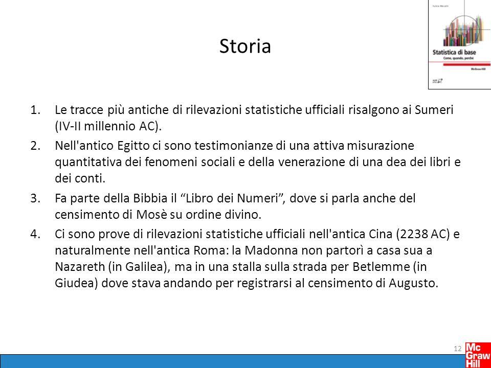 Storia Le tracce più antiche di rilevazioni statistiche ufficiali risalgono ai Sumeri (IV-II millennio AC).