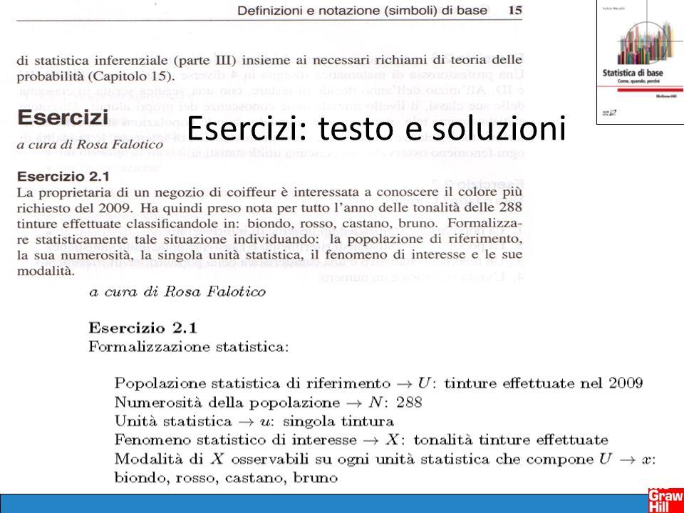 Esercizi: testo e soluzioni