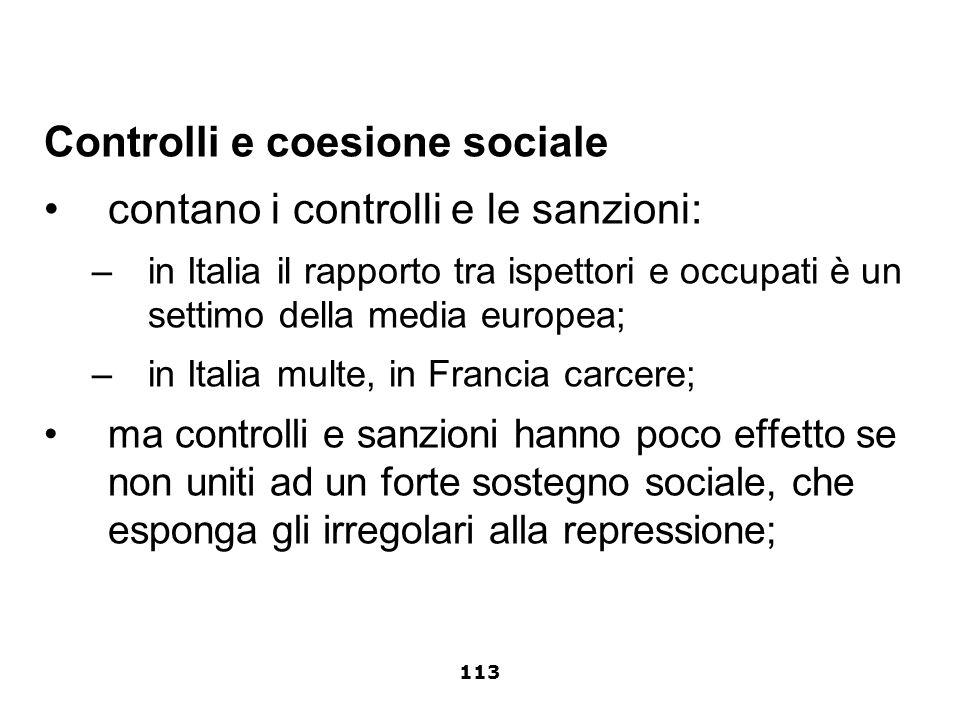 Controlli e coesione sociale contano i controlli e le sanzioni: