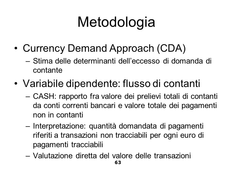 Metodologia Currency Demand Approach (CDA)