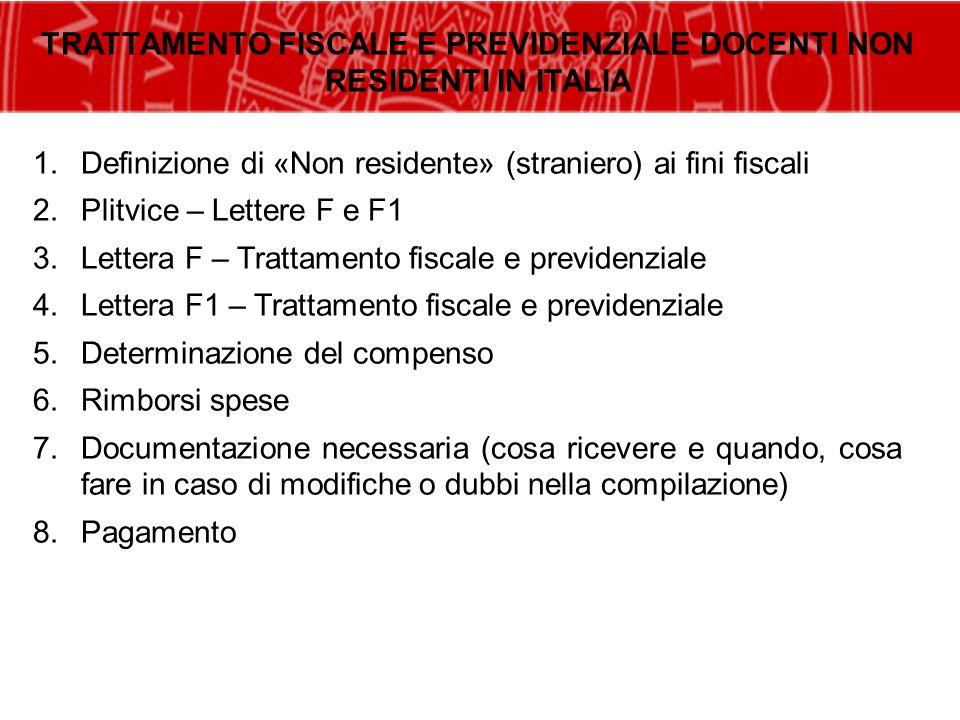 TRATTAMENTO FISCALE E PREVIDENZIALE DOCENTI NON RESIDENTI IN ITALIA