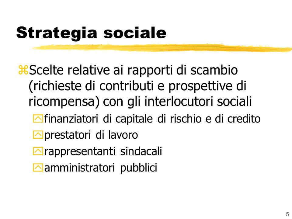 Strategia sociale Scelte relative ai rapporti di scambio (richieste di contributi e prospettive di ricompensa) con gli interlocutori sociali.