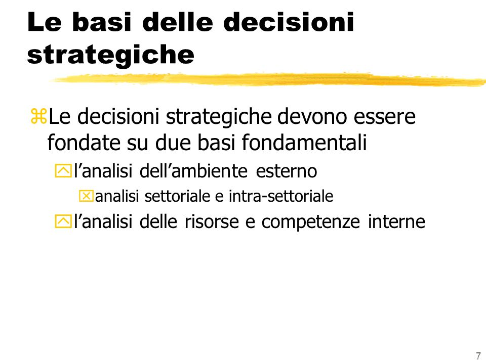 Le basi delle decisioni strategiche