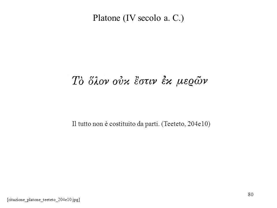 Platone (IV secolo a. C.) Il tutto non è costituito da parti.