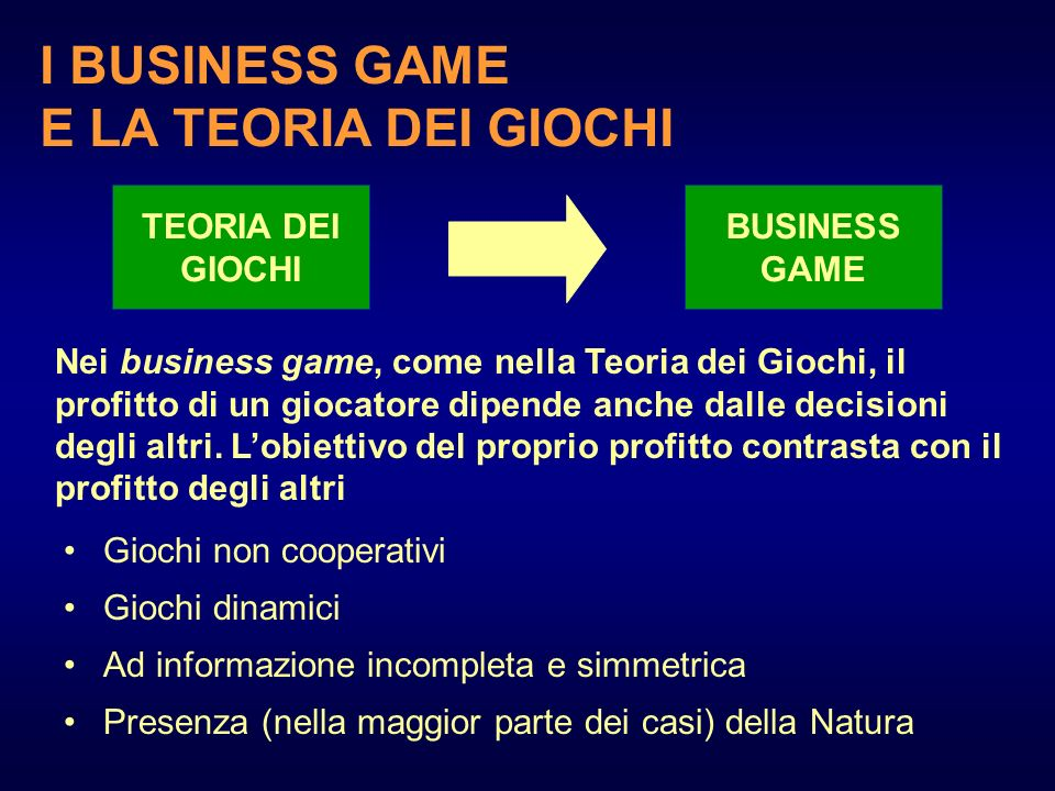 I BUSINESS GAME E LA TEORIA DEI GIOCHI TEORIA DEI GIOCHI BUSINESS GAME