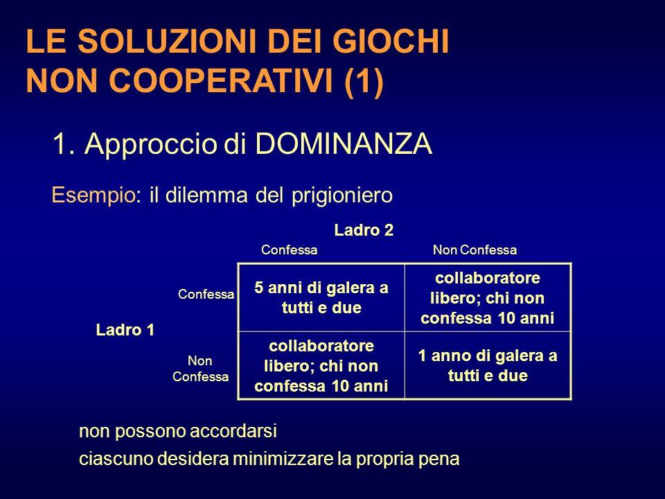 LE SOLUZIONI DEI GIOCHI NON COOPERATIVI (1)