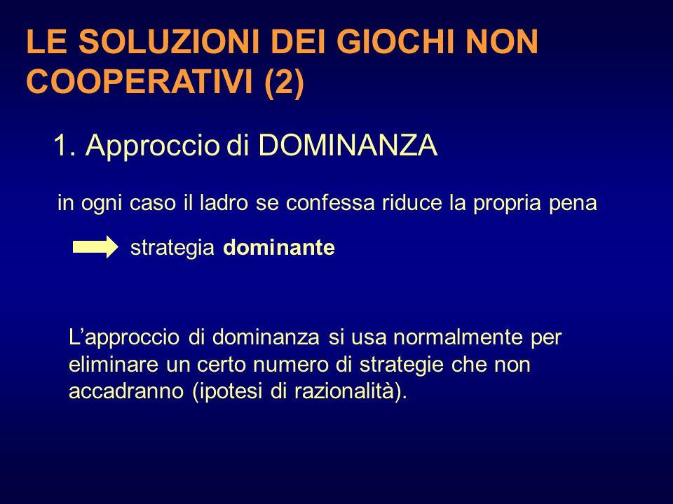 LE SOLUZIONI DEI GIOCHI NON COOPERATIVI (2)
