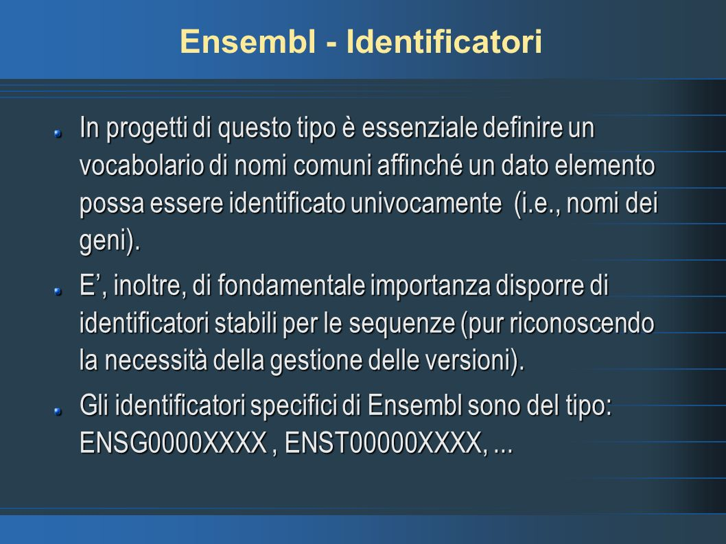 Ensembl - Identificatori