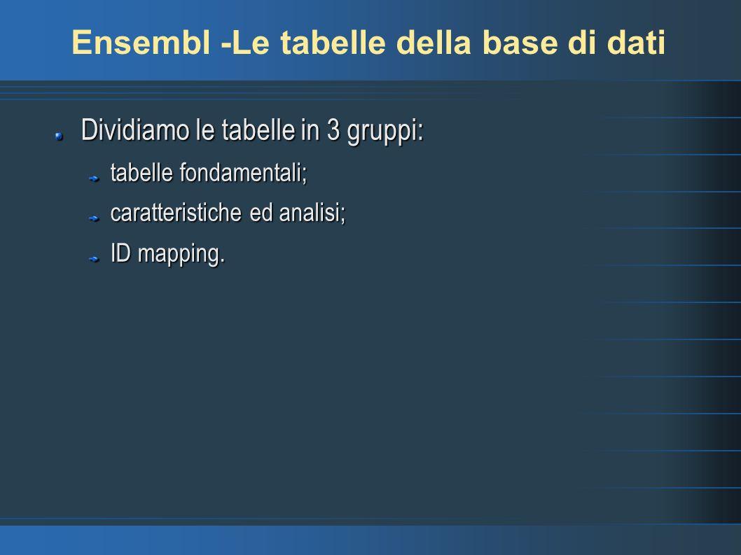 Ensembl -Le tabelle della base di dati