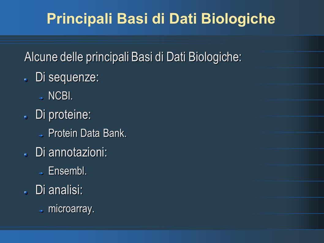 Principali Basi di Dati Biologiche