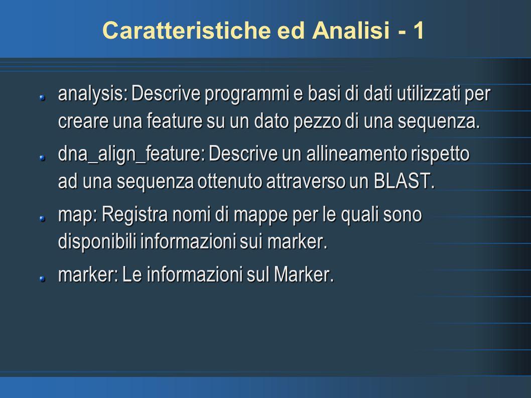 Caratteristiche ed Analisi - 1
