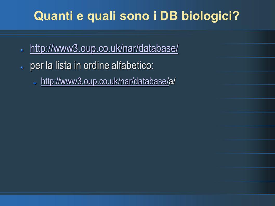 Quanti e quali sono i DB biologici