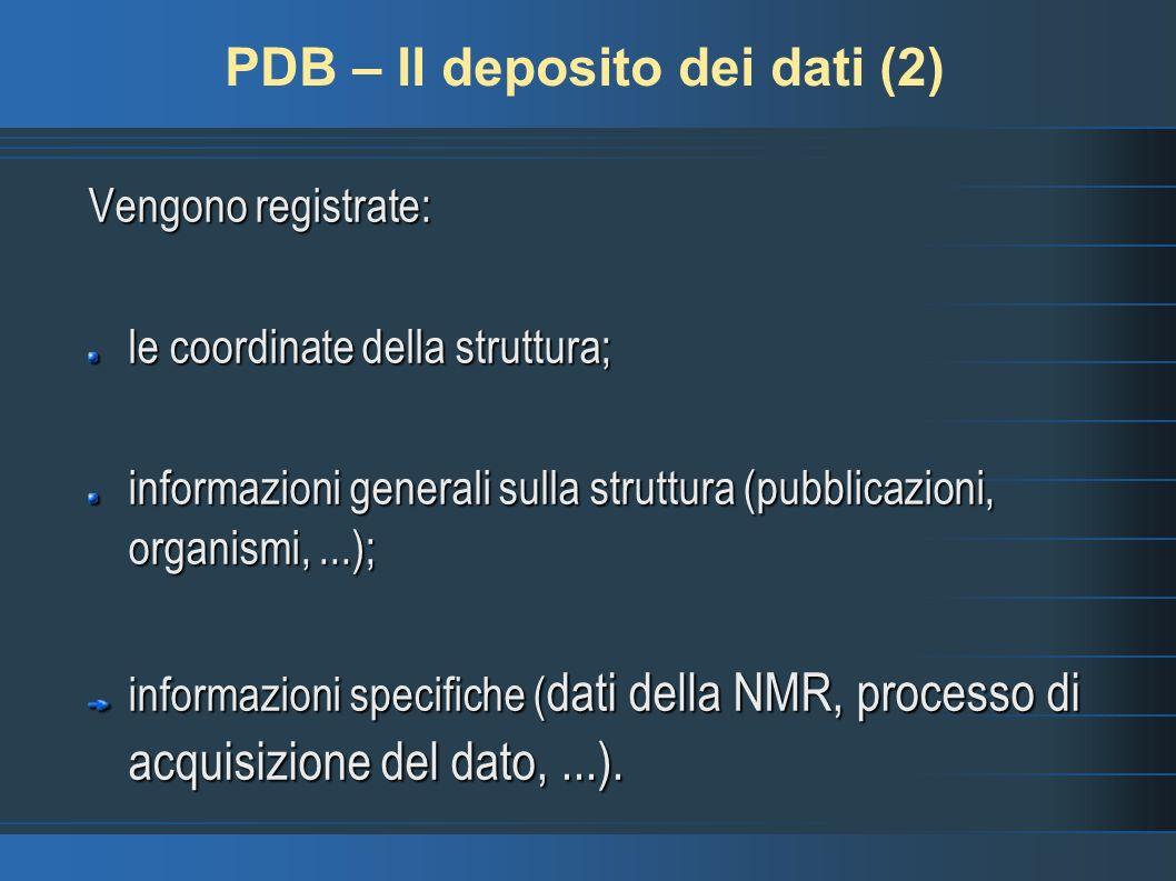 PDB – Il deposito dei dati (2)