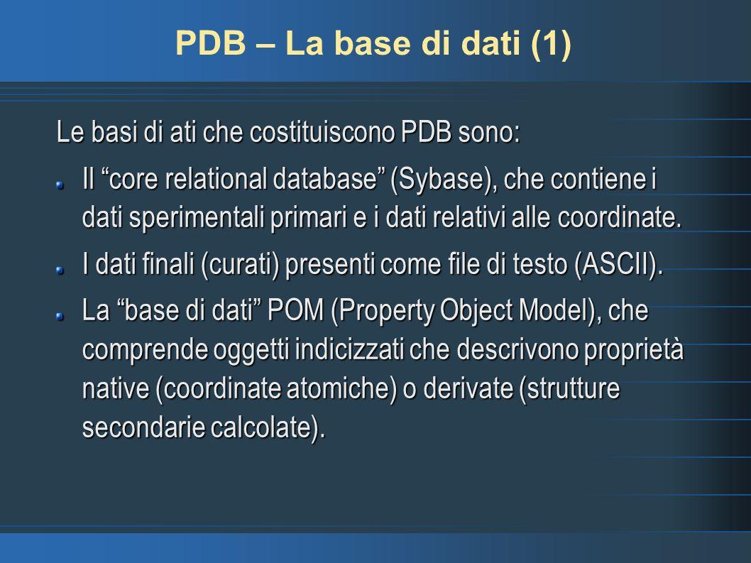 PDB – La base di dati (1) Le basi di ati che costituiscono PDB sono: