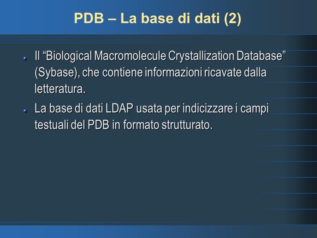 PDB – La base di dati (2)Il Biological Macromolecule Crystallization Database (Sybase), che contiene informazioni ricavate dalla letteratura.