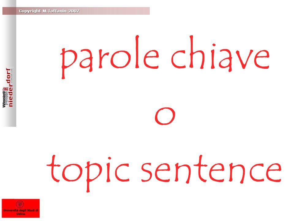 parole chiave o topic sentence
